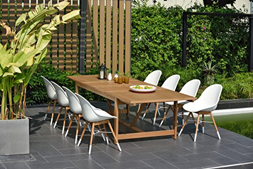 Brampton 9 Piece Outdoor Eucalyptus Extendable Dining Set | Perfect for Patio, Light Teak Finish