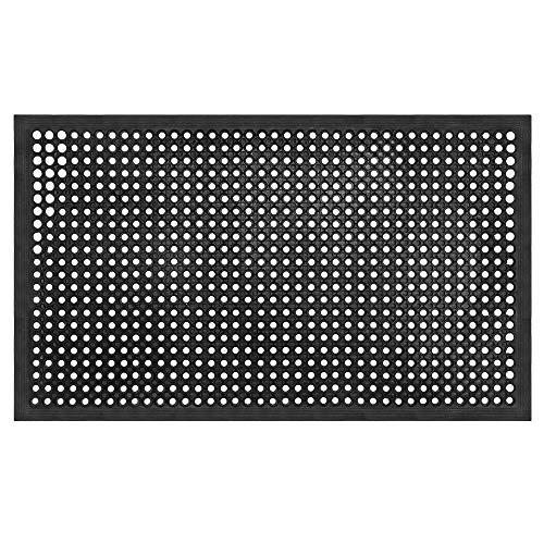 llkajes Commercial Home Anti Fatigue Rubber Door Mat, Durable Restaurant Kitchen Bar Drainage Utility Non-Slip Floor Mat(Color:Black)