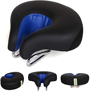 Zisen Noseless Bike Seat Replacement-Bicycle Saddle Wide Black Men & Women for Mountain Bike Beach Crusier Bicycle Exercise Stationary Cycling Bike Comfortable Outdoor Indoor Sports (Black&Blue)