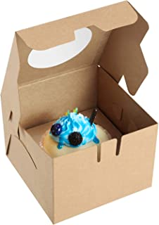 X-Chef Individual Cupcake Boxes 25 Packs, Food Grade Kraft Pastry Bakery Boxes with Display Window and Insert to Fit Single Cupcake Muffin or Pastry, 4