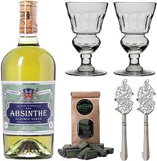 Absinth Set ALANDIA Verte | Grüner Absinth mit traditionellem 19. Jh. Rezept | 2x Absinth-Gläser / 2x Absinth-Löffel / 1x Absinth-Zuckerwürfel | 1x 0.5 l