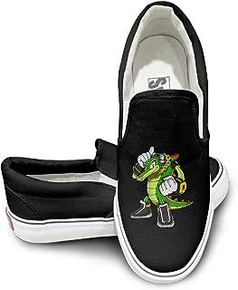 CAPA Unisex Slip-on Shoes Crocodile Fighter Flat Canvas Sneaker Black
