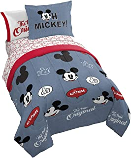 Jay Franco Disney Mickey Mouse Patches 7 Piece Full Bed Set - Includes Reversible Comforter & Sheet Set Bedding - Super Soft Fade Resistant Microfiber - (Official Disney Product)