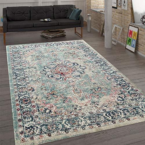 Paco Home Trendiger Flachgewebe Teppich Vintage Orient Used Look Ornamente Mehrfarbig, Grösse:120x160 cm