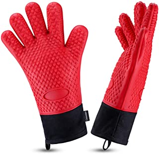 Oven Gloves, Heat Resistant Cooking Gloves Silicone Grilling Gloves Long Waterproof BBQ Kitchen Oven Mitts with Inner Cott...