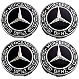 4 Pieces 75mm Black Center Wheel Hub Caps for Mercedes-Benz,Applicable to All Models