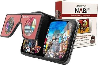 Nabi ミニバーチャルリアリティビューア | 頑丈なポケットサイズのVRヘッドセット トラベルケース付き | 折りたたみ式 ポータブルバーチャルリアリティヘッドセット iPhone & Android用 | 360VRビデオをお楽しみください (レッド)