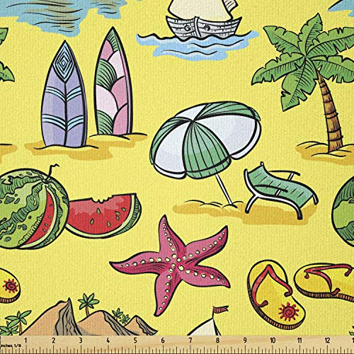 Lunarable Beach Fabric by The Yard, Doodle Style Summer Season Illustration with Starfish Boat Watermelon and Palm Trees, Stretch Knit Fabric for Clothing Sewing and Arts Crafts, 2 Yards, Green Lilac
