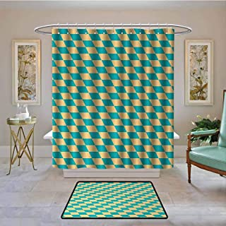 Kenneth Camilla01 Polyester Shower Curtain, Geometric,Art Deco Style Chess Table Dart Like Horizontal Vintage Image,Turquoise and Light Yellow,Shower Curtains Set with 12 Hooks 108