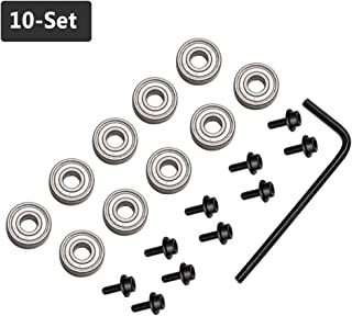 "Yakamoz 10Pcs Router Bits Top Mounted Ball Bearings Guide for Router Bit Bearing Repairing Replacement Accessory Kit | Inner Dia. 3/16"" & Overall Dia. 1/2"""