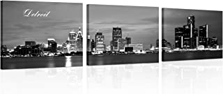 TUMOVO Black and White Wall Art Detroit Skyline Wall Painting Detroit River and Skyscrapers Picture Prints On Canvas for H...