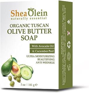 SheaOlein- Organic Tuscan Olive Butter Soap w/Avocado Oil & Cucumber Peel 5 oz Bar (6 Bars)