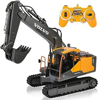 RCTOYS Relación 1/16 17 Canales RC Excavadora Camión RC Profesional Función Completa Excavadora Teledirigida Todo Terreno con Pala De Metal 2.4Ghz