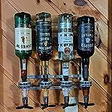 Liquor Dispenser Butler, 4 Bottle Wall Mounted Bottle Beverage Stand Wall Bracket Drink Wine Dispenser Optic Drinkware Set