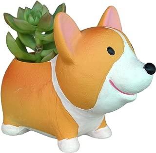 Lovely Corgi Dog Shaped Plant Planter Resin Corgi Animal Succulent Plants Decorative Flower Pot (Standing Corgi)