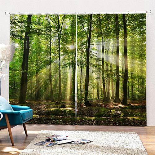 SK Studio Gardine Vorhänge 2 Stück Verdunkelungsvorhänge Blackout 3D Curtain Schlafzimmer Wohnzimmer, Sonnenlicht durch die Bäume 220 x 180cm (W x L)