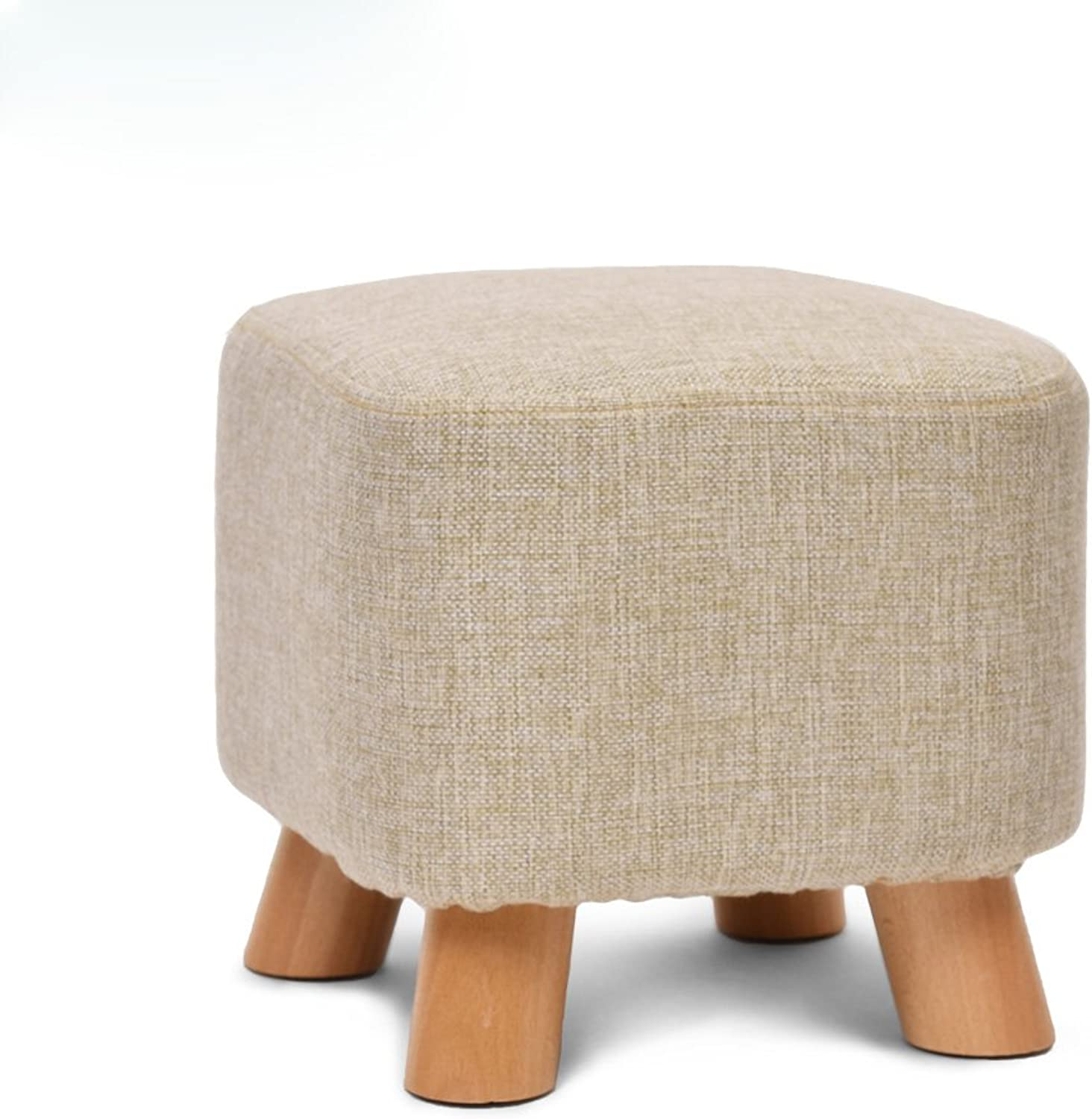 Solid Wood shoes Bench Fashion Creative Sofa Stool Home Pouf Fabric Stool Removable Washable Stool 0522A (color   D)