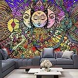 KHKJ Tapiz de árbol psicodélico Mandala Colgante de Pared Macramé Hippie tapices para Sala de Estar hogar Dormitorio decoración A4 200x180cm