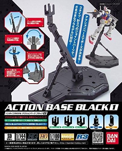 Bandai Hobby BAN148215 Bandai 5058009 Black Action Base 1 Display Stand 1/100 Model Kit Plastic, Multi