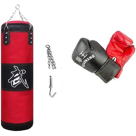 Nova Set da Boxe Moschettoni Arti Marziali /Ø30 cm Pieno Sacchi Pugilato Peso 25kg Sospensione a Catena da Soffitto Lunghezza 100 cm Guantoni 10 oz Kickboxing MMA Punching Bag