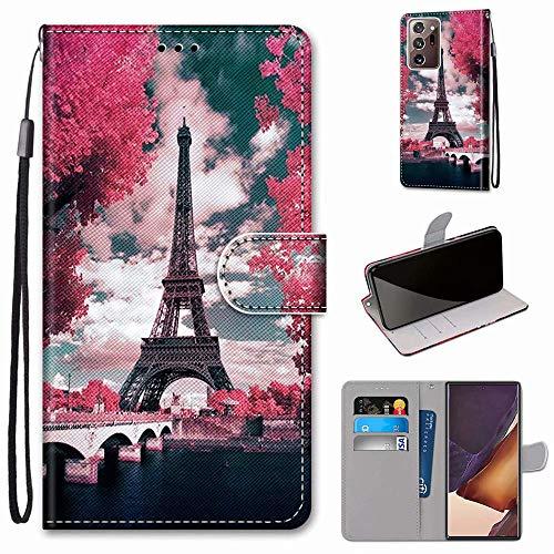 Miagon Flip PU Leder Schutzhülle für Samsung Galaxy Note 20 Ultra,Bunt Muster Hülle Brieftasche Case Cover Ständer mit Kartenfächer Trageschlaufe,Turm Blume