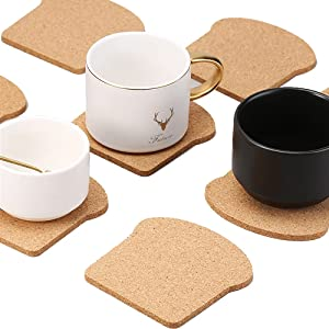 Cork Coasters DIY Bread Toast Coasters Set of 10 Pieces for Drinks, Bar Coasters Creative Novelty Gift for Home Office Cactus Decor
