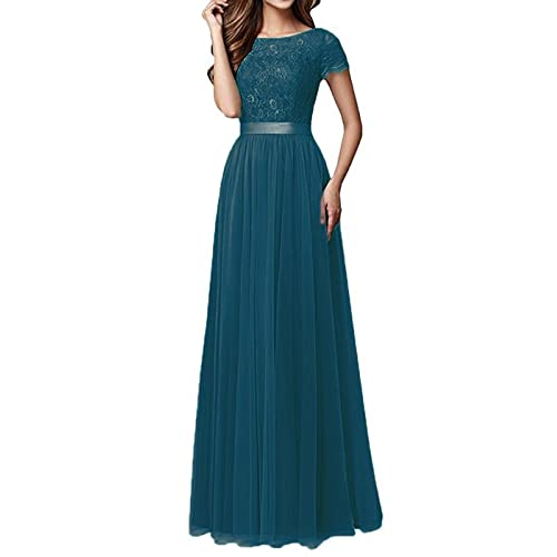 eec36c9379 Pretygirl Womens Tulle Long Bridesmaid Dress Short Sleeves Lace Prom  Evening Dresses