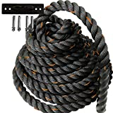 Battle Ropes for Exercise, Battle Ropes with Anchor Kit, Battle Ropes for Home Gym Battle Ropes 30 ft x 1.5 inch, Battle Ropes with Anchor, Garage fit Battle Rope