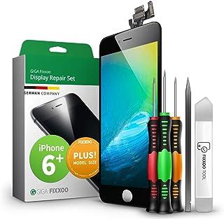 GIGA Fixxoo Display Set für iPhone 6 Plus | SCHWARZ | vormontiertes Reparatur Set komplett mit Frontkamera & Werkzeug Kit, Ersatz Bildschirm | Retina LCD Glas mit Touchscreen