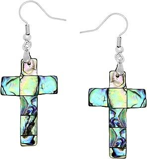 Cross Fashionable Earrings - Fish Hook - Abalone Paua Shell - Unique Gift and Souvenir
