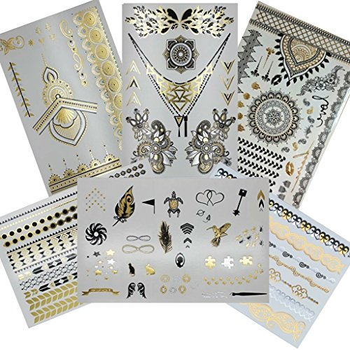 Henna Metallic Temporary Tattoo (6 Sheets) Gold Silver and Black Jewelry Tattoos