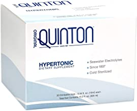 Original Quinton Hypertonic - Concentrated + Pure Seawater Electrolyte Liquid Minerals for Athletic Performance + Energy Support, Marine-Rich Complex (30 Single Serving Vials)