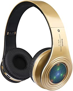 Bluetooth Headphones Wireless,Over Ear LED Light Up Headset with Mic, Stereo Sound,for Cellphone Tablets Computer for Kids Children Boy Adult-Gold