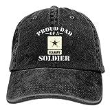 DAIAII Homme Casquettes de Baseball, Proud US Army Dad Unisex Adjustable Cotton Denim Hat Washed Retro Gym Hat Cap Hat Black