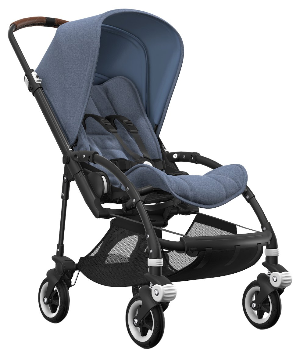 Bugaboo Bee5 Stroller Bundle with Black Base, Blue Melange Canopy/Seat, Cognac Grips and White Wheel Caps