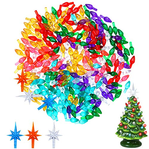 Resinta 200 Pieces Ceramic Christmas Tree Plastic Ornament and 3 Pieces Ceramic Christmas Tree Star Topper (not Include Ceramic Christmas Tree)