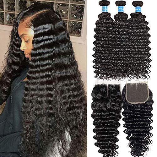 Brazilian Deep Wave Human Hair 3 Bundles With 4inch x 4inch Lace Closure Middle Part Unprocessed Loose Deep Curly Wet and Wavy Weave Hair Extensions With Closure Natural Color (28 26 24+20closure)
