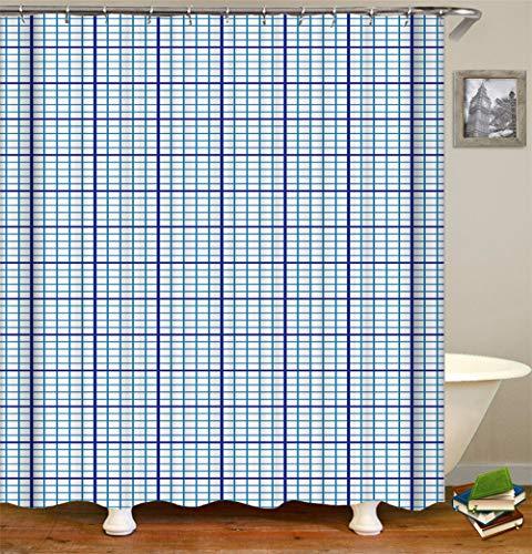 SLN Blaue Quadrate. Duschvorhang. 180 X 180 cm. 12 C-Förmige Haken. Einfach Zu Säubern. Wasserdicht. Nicht Verblassen. Haus Dekoration.