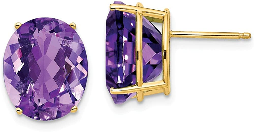 Solid 14k Yellow Gold 12x10mm Oval Amethyst Purple February Gemstone Studs Earrings - 13mm x 10mm