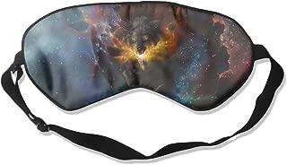 100% Silk Sleep Mask Eye Mask Magic Space Wolf Print Soft Eyeshade Blindfold with Adjustable Strap for Sleeping Travel Work Naps Blocks Light