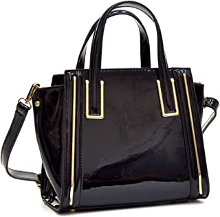 Women Small Patent Leather Satchel Handbags Structured Purse Shoulder Bag