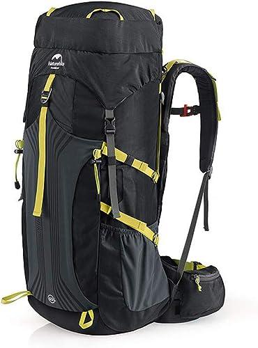 SPFOZ Sac à Dos en Plein air Sac d'alpinisme en Plein air Sac à Dos Hommes et Femmes randonnée Sac de Camping Grande capacité 55L65L (Couleur   noir, Taille   76cm×32cm×23cm)