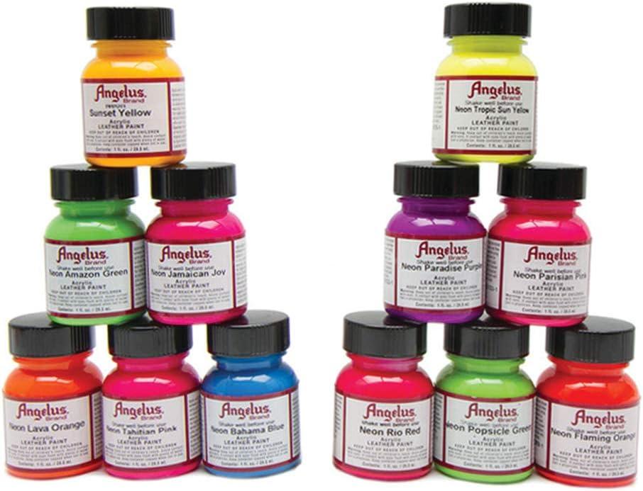 Angelus Leather Paint Set of 12 Neons 1oz