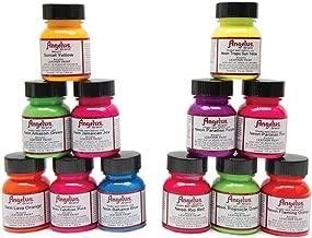 Angelus Leather Paint, Set of 12 Neon Colors, 1oz Jars
