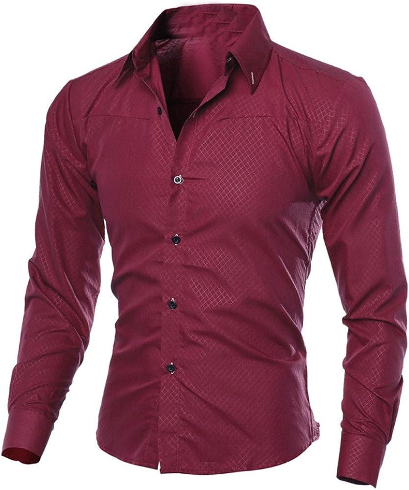 DZQUY Men's Print Button Down Dress Shirt Long Sleeve Casual Slim Fit Flex Collar Work Shirts Tops Blouse