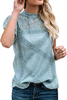 Womens Lace Patchwork Flare Ruffles Short Sleeve Cotton Shirt Blouse Top Plus Size Solid Round Collar Tunic