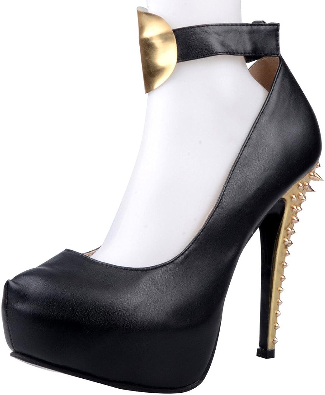 Calaier Womens Cacat 2016 Designer Luxury Stylish Super High Heel Round Toe 14CM Stiletto Button Pumps shoes