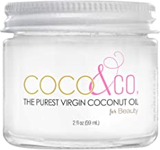 COCO & CO. Organic Pure Extra Virgin Coconut Oil for Hair & Skin, Beauty Grade - Mini Jar, 2oz