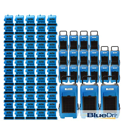 BlueDri☛ Mega Pack 2, 16 x BD-76 Déshumidificateur Commercial 180 x One-29 Air Mover, Bleu