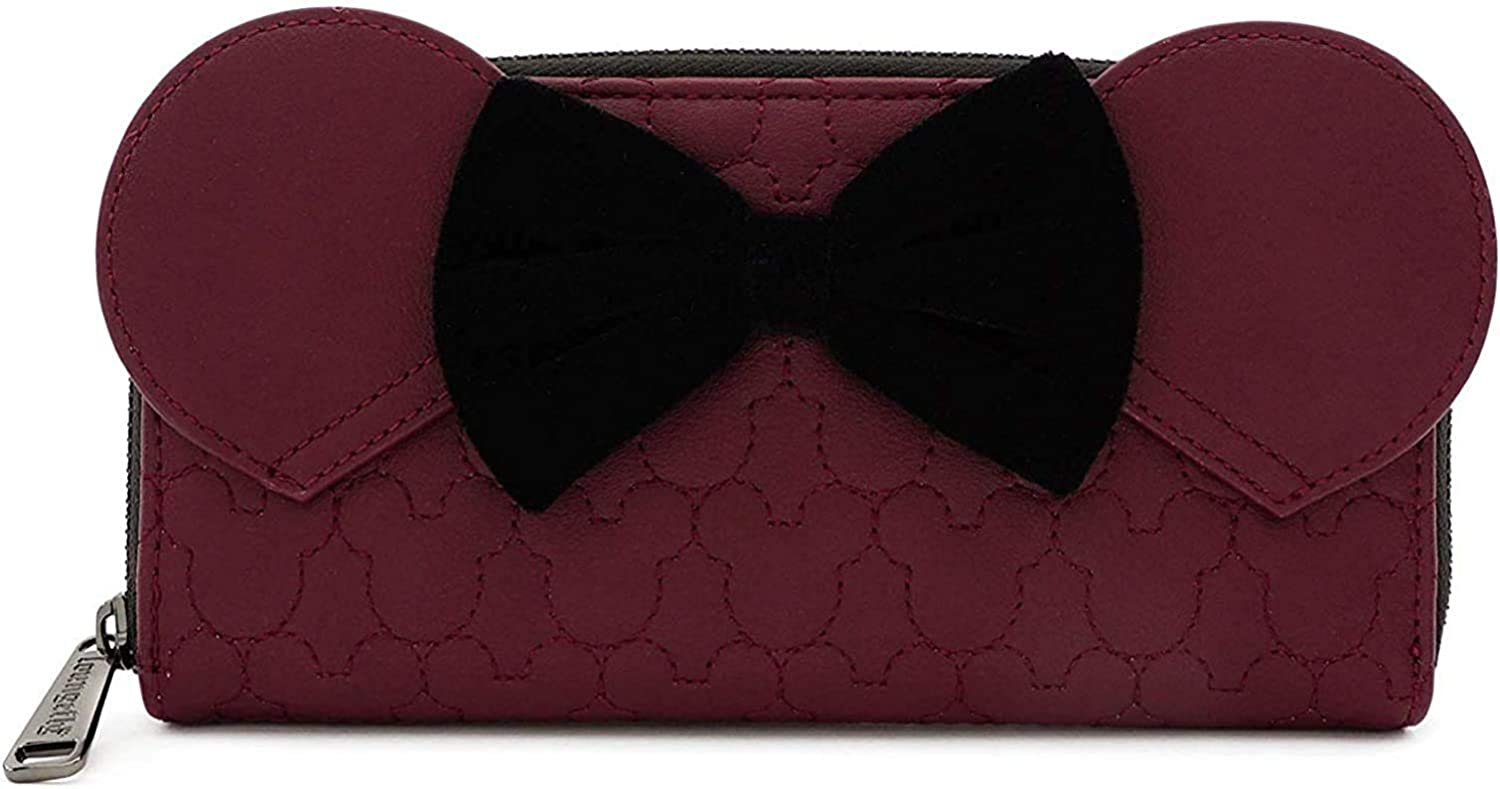 Loungefly x Minnie Mouse Quilted with Zip-Around Wallet Velvet Max 59% OFF B Deluxe